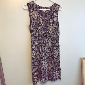 Loft keyhole paisley & floral sleeveless  dress